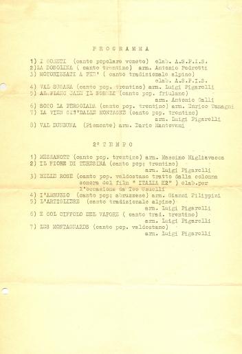 Il programma di sala del primo concerto del coro Aspis in San Pietro in Sala a Milano